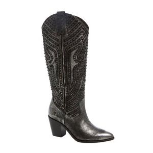 Frye Faye Stud Pull On Metallic Leather Boots